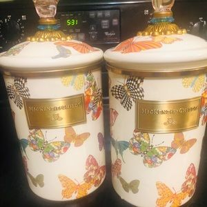 MacKenzie-Childs Butterfly canisters.